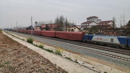 20200315 132343 阳安线HXD2货列通过王家坎站,前挂双层汽车运输车