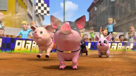 超级飞侠:小猪猪真贪吃,比赛都不顾了,就要去吃姜饼