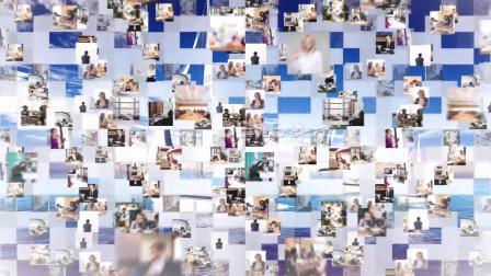 1434 震撼大气照片墙多图片飞入汇聚公司企业标志LOGO演绎片头AE模板 视频制作 ae片头 ae教程