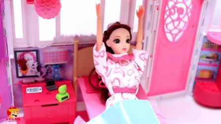 芭比娃娃被闹钟催醒起床,换上漂亮衣服鞋子,服务生送来美味的鸡蛋饼和草莓蛋糕早餐 第1集
