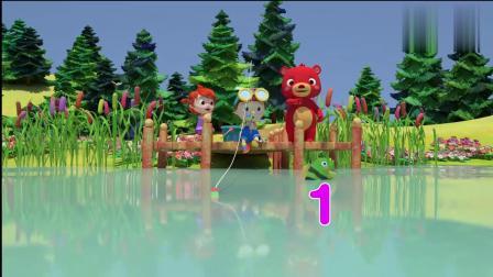 幼儿益智动漫:小妹妹钓鱼挺厉害啊,没一会就上钩了,可是线折了