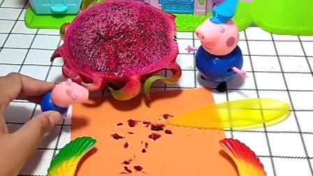 猪爷爷发现猪爸爸买了水果,以为猪爸爸被骗,不料是火龙果