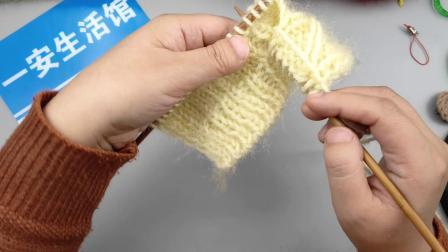 一安生活馆 手工编织棒针松鼠绒成人毛线围巾围脖儿童围巾相思扣围巾视频教程