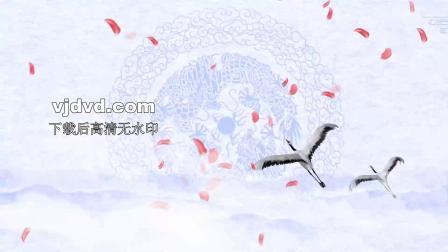 花瓣水墨回乡偶书配乐成品中国风水墨山水led舞台背景视频素1747