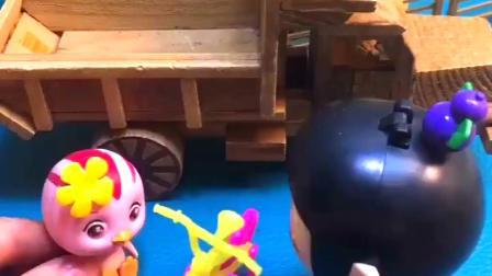 葫芦娃出门玩,发现朵朵要搬家了,朵朵把自行车送给葫芦娃