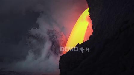 歌曲配乐 a881 4K画质正好大气海洋海浪海水拍打岩石火山熔岩火光火星四溅实拍视频大屏幕舞台LED背景视频 大屏素材