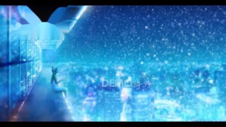 歌曲配乐 a901 超唯美梦幻蓝色夜空冬天冬季雪花飘落霓虹灯光闪烁童话世界二次元幼儿园小学初中毕业晚会唱歌跳舞节目大屏幕舞台LED背景视频素材 大屏素材