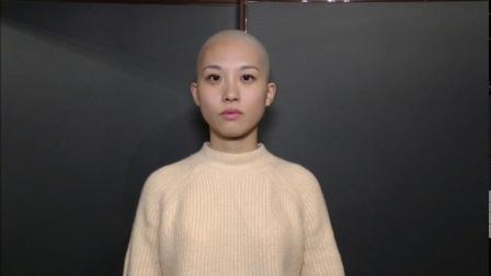 妹子剃光头前后对比