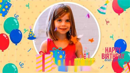 AE模板-可爱儿童生日快乐照片相册片头