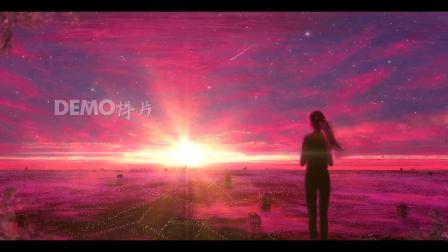 歌曲配乐 a918 超唯美紫色粉色粒子星空天空云彩星星闪烁流星卡通少女二次元学校高中大学初中毕业晚会唱歌跳舞大屏幕舞台LED背景视频素材 大屏素材 动态视频