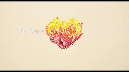 歌曲配乐 a920 创意超唯美树枝剪纸拼成七彩爱心图案浪漫婚礼求婚求爱表白七夕情人节动态视频素材 大屏素材 动态视频