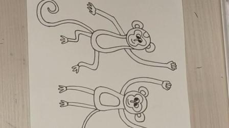 橘宝艺术培训中心-综合创意绘画《顽皮的小猴子》1