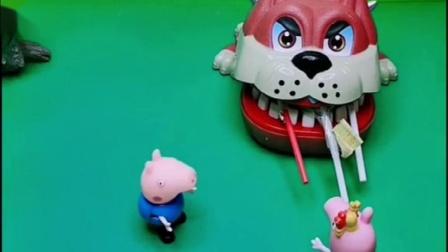 沙皮狗拿走了乔治的奶酪棒,乔治说这是给佩奇的,让沙皮狗还回来