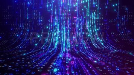 科技感发光垂直编程代码数字网格