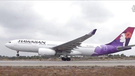 地面,夏威夷航空(Hawaiian)A330从洛杉矶国际机场(LAX)起飞
