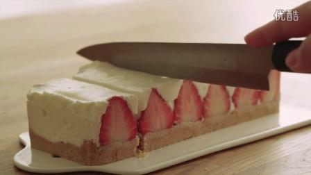 【大吃货爱美食】简单的免烤草莓奶酪蛋糕~160414
