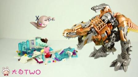 超能玩具英雄白白侠01:恐龙乐高 变形金刚钢索