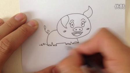 十二生肖简笔画.小猪的画法