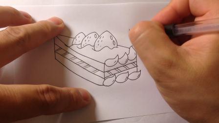 儿童简笔画系列.卡通草莓蛋糕的画法