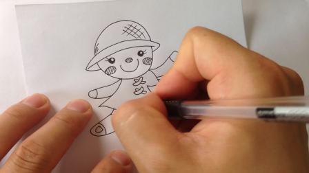 手绘卡通简笔画画.小女孩布娃娃