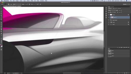 Photoshop手绘渲染概念敞篷汽车设计效果图45度