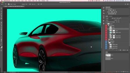 汽车设计后45度PS手绘上色渲染教程