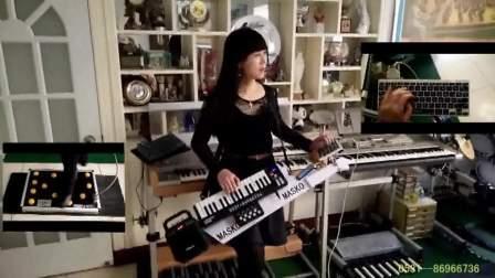 丁悦啤酒桶波尔背挎双排三排键电子琴合成器脚电子鼓