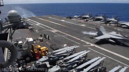 里根号航空母舰飞机降落视频