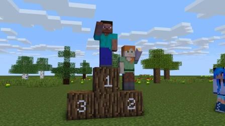 我的世界动画-史蒂夫和爱丽克丝比赛跑-Enicraft