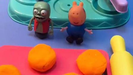乔治给小鬼做饼干,饼干上还有漂亮的花纹,乔治对小鬼真好