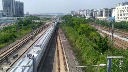 2020年9月1日,G9695次(长沙南站—深圳北站)本务中国铁路广州局集团有限公司广州动车段广州南动车运用所CR400AF-A型广州北站通过