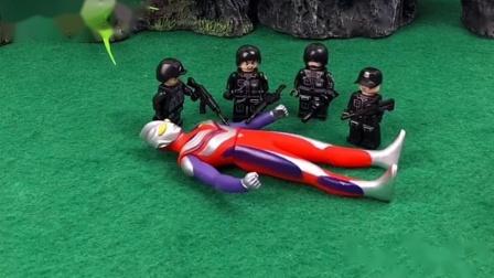 换小警察来保护奥特曼,怪兽也没法得逞,真是多亏小警察了