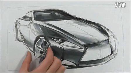 雷克萨斯汽车设计马克笔手绘视频教程1