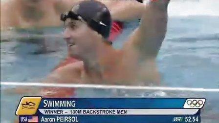 北京奥运游泳比赛男子100仰-决赛
