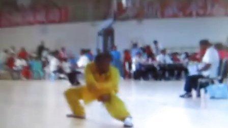 于潍东全国武术比赛演示孙膑拳、双手剑、螳螂拳.