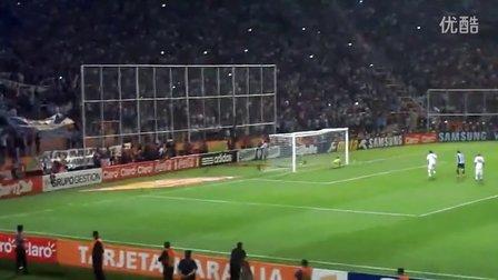 实拍梅西vs乌拉圭精彩任意球破门