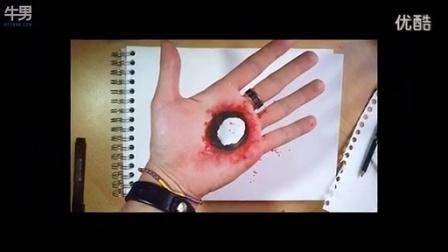 如何在手上画出3D立体洞穿伤口_高清