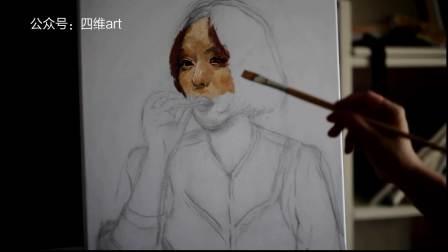 【油画】直接画法《抽烟的女人》——by 四维art