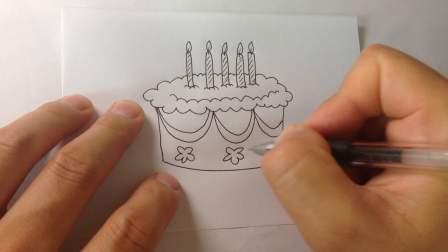 生日蛋糕-简笔画各种蛋糕的画法19