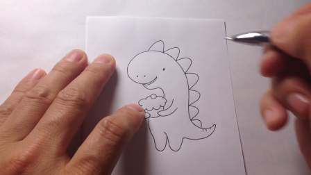 教你画简笔画.恐龙吃蛋糕