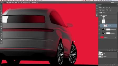 奥迪概念汽车设计手绘Photoshop效果图视频