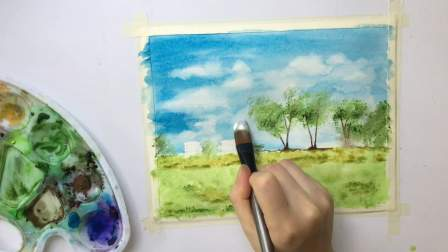 【画画】简单水彩画风景画watercolor painting landscape