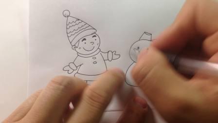 卡通简笔画讲解教程.冬天下雪了,教你画漂亮的雪人和小男孩