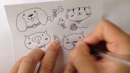 学简笔画教程.卡通动物头像