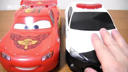 tomy tomica多美卡汽车总动员 95号红色麦昆赛车收纳车外出游玩携带玩具
