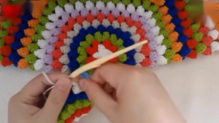 爆米花抱枕钩针编织视频教程