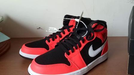 (潮鞋开箱)Air Jordan AJ1 mid 中帮 红外线 黑红扣碎 Nike 耐克 41码 新年礼物 祝大家新年快乐!