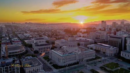 美国旧金山市政厅夜景航拍