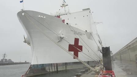 美海军安慰号医院船准备从诺福克起程前往纽约协助抗疫