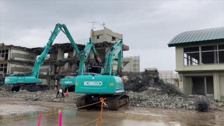 20200706/富岡一拆楼现场,神钢挖掘机